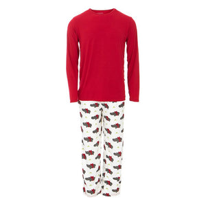 Kickee Pants - Winter Celebrations 2020 - Men's Pajama Set - Natural Christmas Hippo