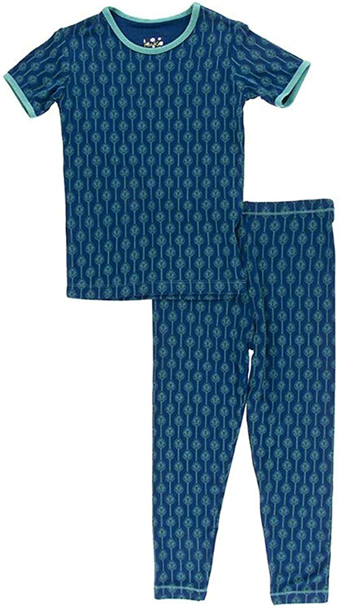 Kickee Pants - Botany - Pajama Set - Navy Leaf Lattice