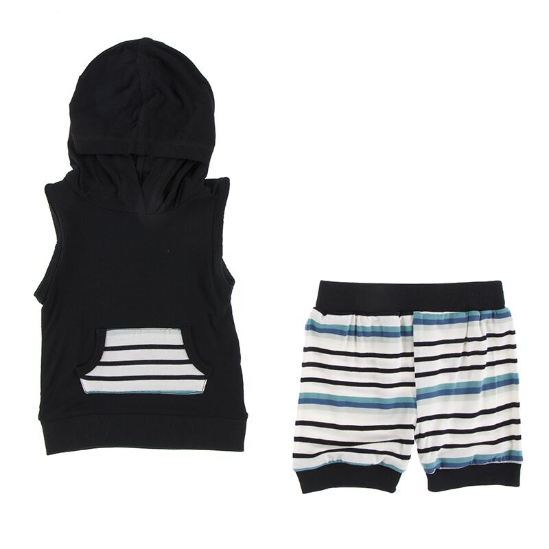 Kickee Pants - Astronomy & Chemistry- Hoodie Tank Outfit – Neptune Stripe