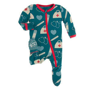 Kickee Pants - Everyday Heroes Collection - Footie with Zipper–  Oasis Medicine