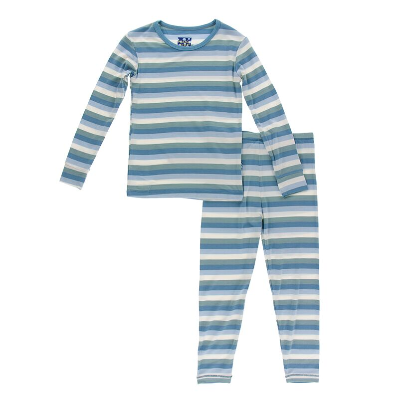 Kickee Pants - Oceanography Collection - Pajama Set - Oceanography Stripe