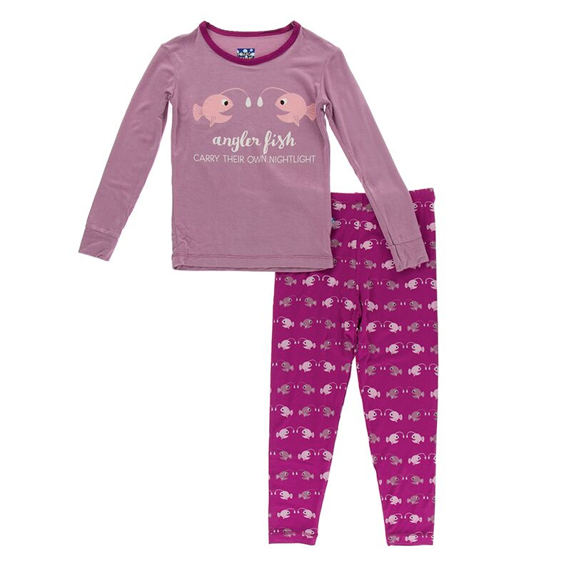 Kickee Pants - Oceanography Collection - Pajama Set - Orchid Angler Fish