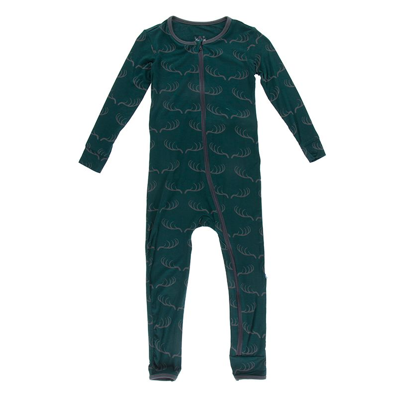 Kickee Pants - Fish & Wildlife Collection - Coverall with Zipper–  Pine Deer Rack