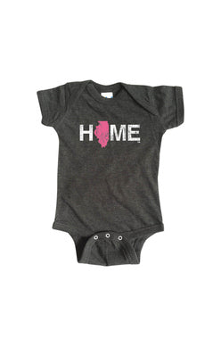 Illinois Home Onesie - Pink
