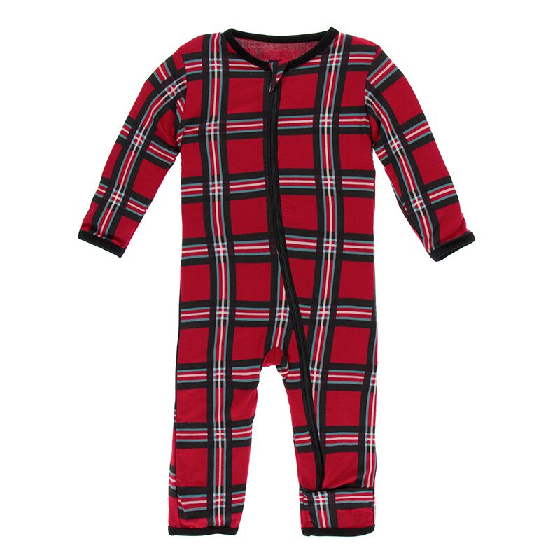 Kickee Pants - Winter Celebrations - Coverall with Zipper – Christmas plaid 2019