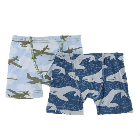 Kickee Pants - Spring 1 2017  - Boxer Brief Set - Pond Airplanes & Twilight Whales