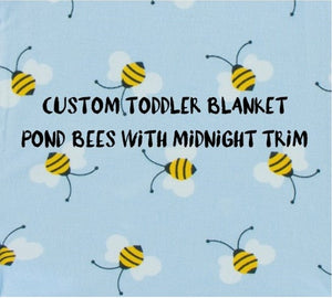 Kickee Pants - Spring 1 2018 - CUSTOM Toddler Blanket - Pond Bees with Midnight Trim