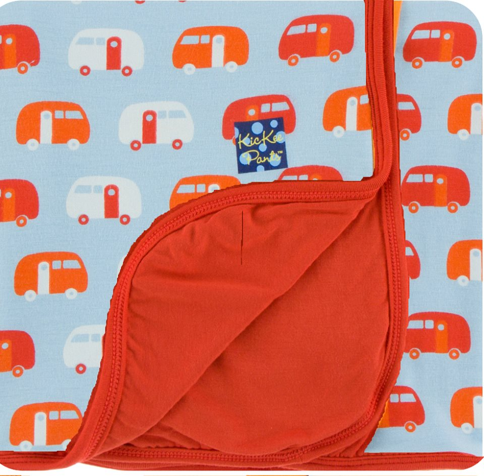Kickee Pants - Spring 1 2018 - CUSTOM Toddler Blanket - Pond Camper with Poppy Trim