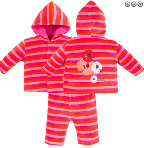 Magnetic Me Velour Hoodie and Pants Set - Poppy Stripe