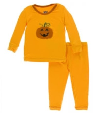 Kickee Pants - Paleontology Collection - Applique Pajama Set - Tamarin Pumpkin