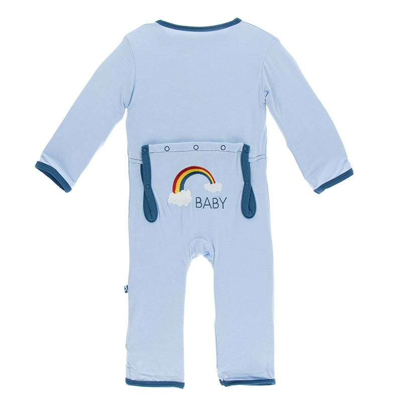 Kickee Pants - India Collection - Applique Coverall - Pond Rainbow Baby