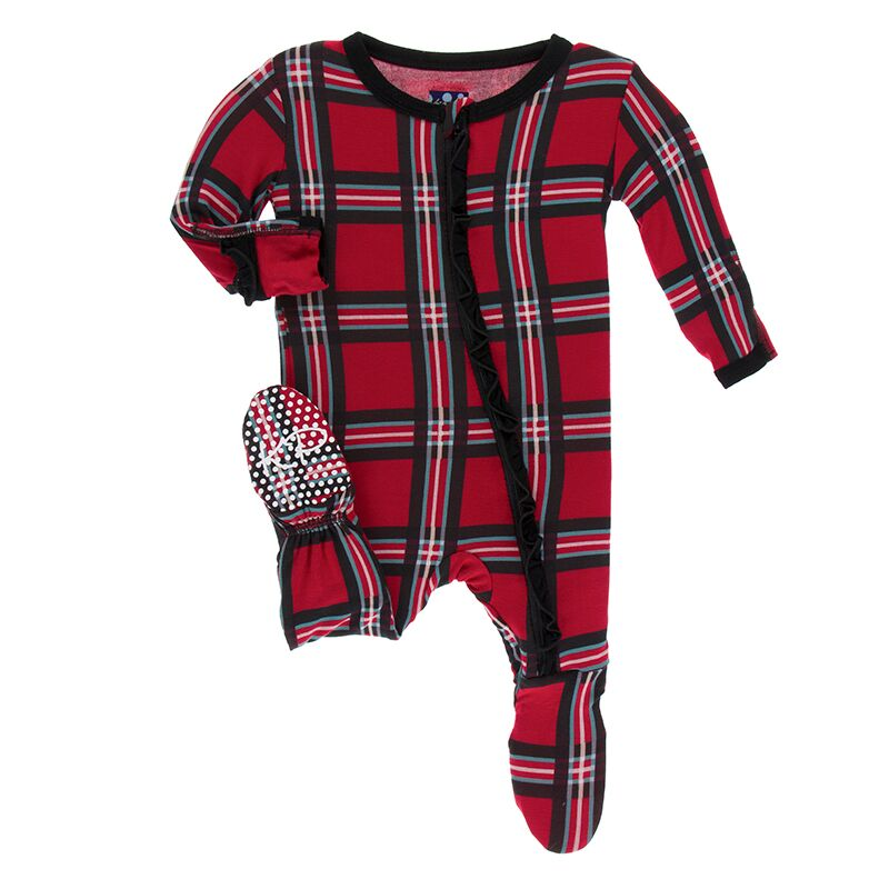 Kickee Pants - Winter Celebrations - Ruffle Footie with Zipper – Christmas Plaid 2019