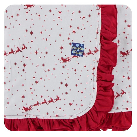 Kickee Pants - Holiday 2017 - Ruffle Stroller Blanket - Natural Flying Santa