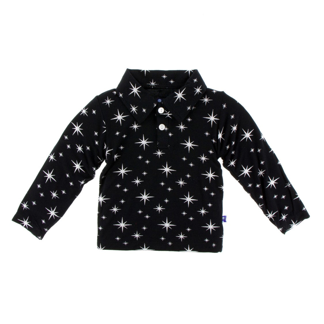 Kickee Pants - Holiday 2018 - Long Sleeve Polo – Silver Bright Stars