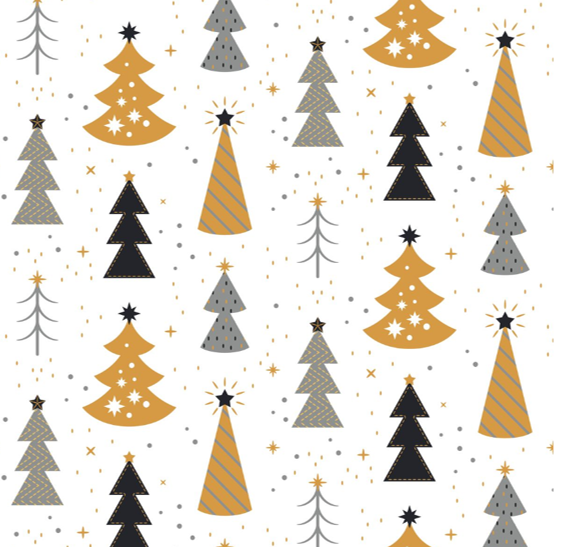 Kozi & Co - Holiday Collection - Stroller Blanket - Silver & Gold Trees