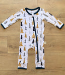 Kozi & Co - Holiday Collection - Coverall - Silver & Gold Trees