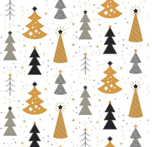 Kozi & Co - Holiday Collection - Stroller Blanket - Silver & Gold Trees with Ruffles