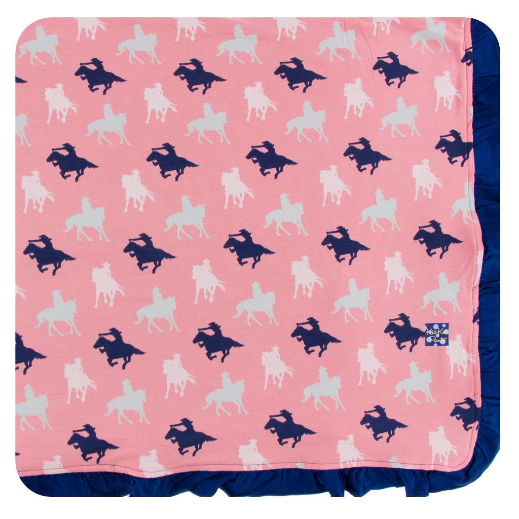 Kickee Pants - Spring 2 2018 - Ruffle Toddler Blanket - Strawberry Cowgirl