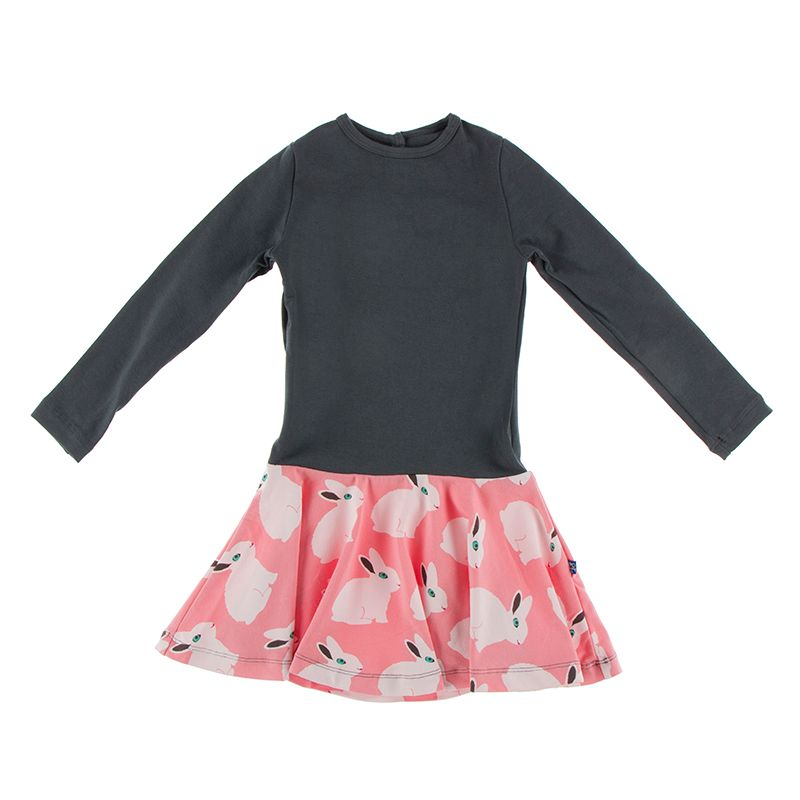 Kickee Pants - Fish & Wildlife Collection - Keyhole Dress - Strawberry Forest Rabbit