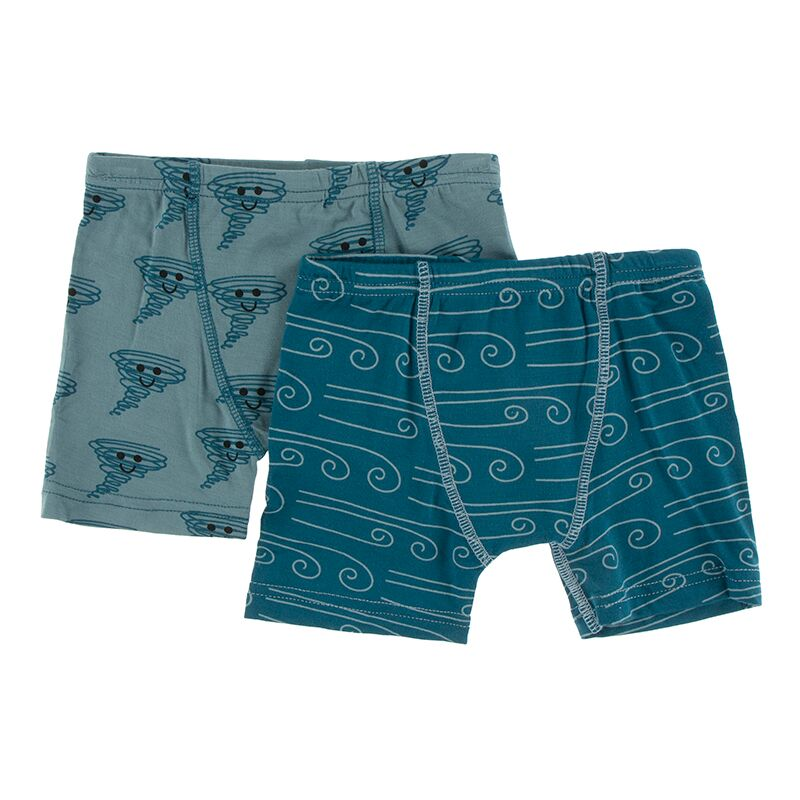 Kickee Pants - Geology & Meteorology Collection - Boxer Briefs Set – Dusty Sky Happy Tornado and Heritage Blue Wind