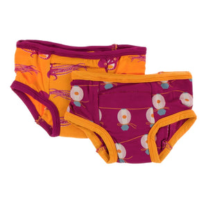 Kickee Pants - Fall 3 2018  - Training Pants - Apricot Octopus & Dragon Fruit Lantern Festival