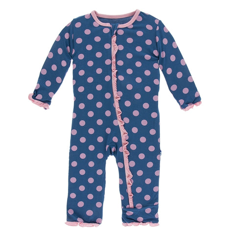 Kickee Pants - Spring 1 2018 - Ruffle Coverall with Zipper – Twilight Dot