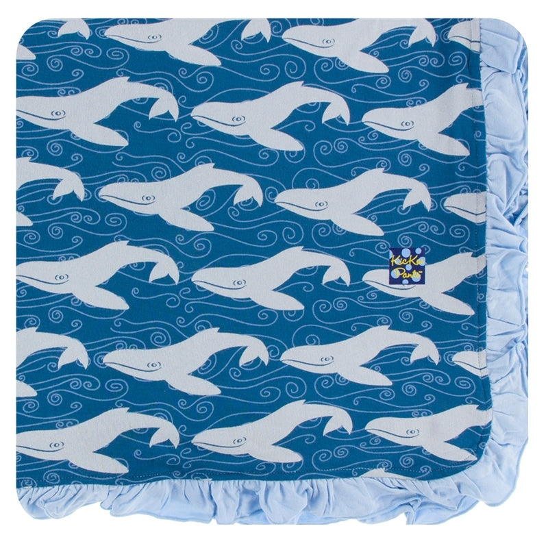 Kickee Pants - Spring 1 - Ruffle Toddler Blanket - Twilight Whale