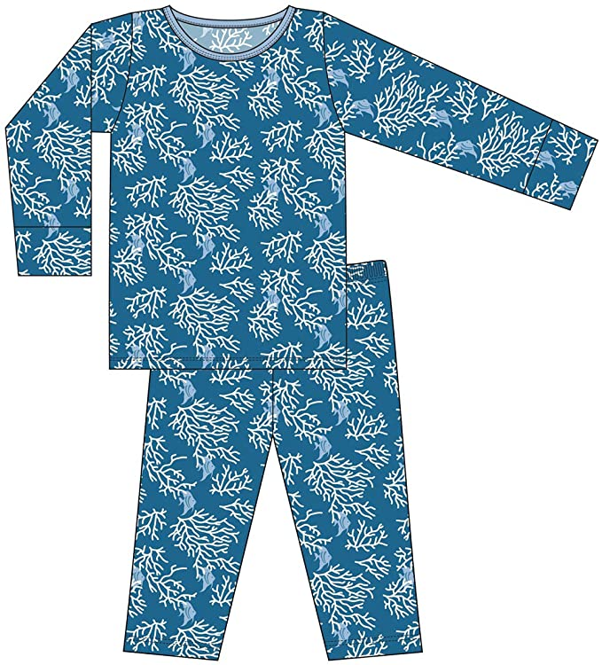 Kickee Pants - Pajama Set - Twilight Coral Fans