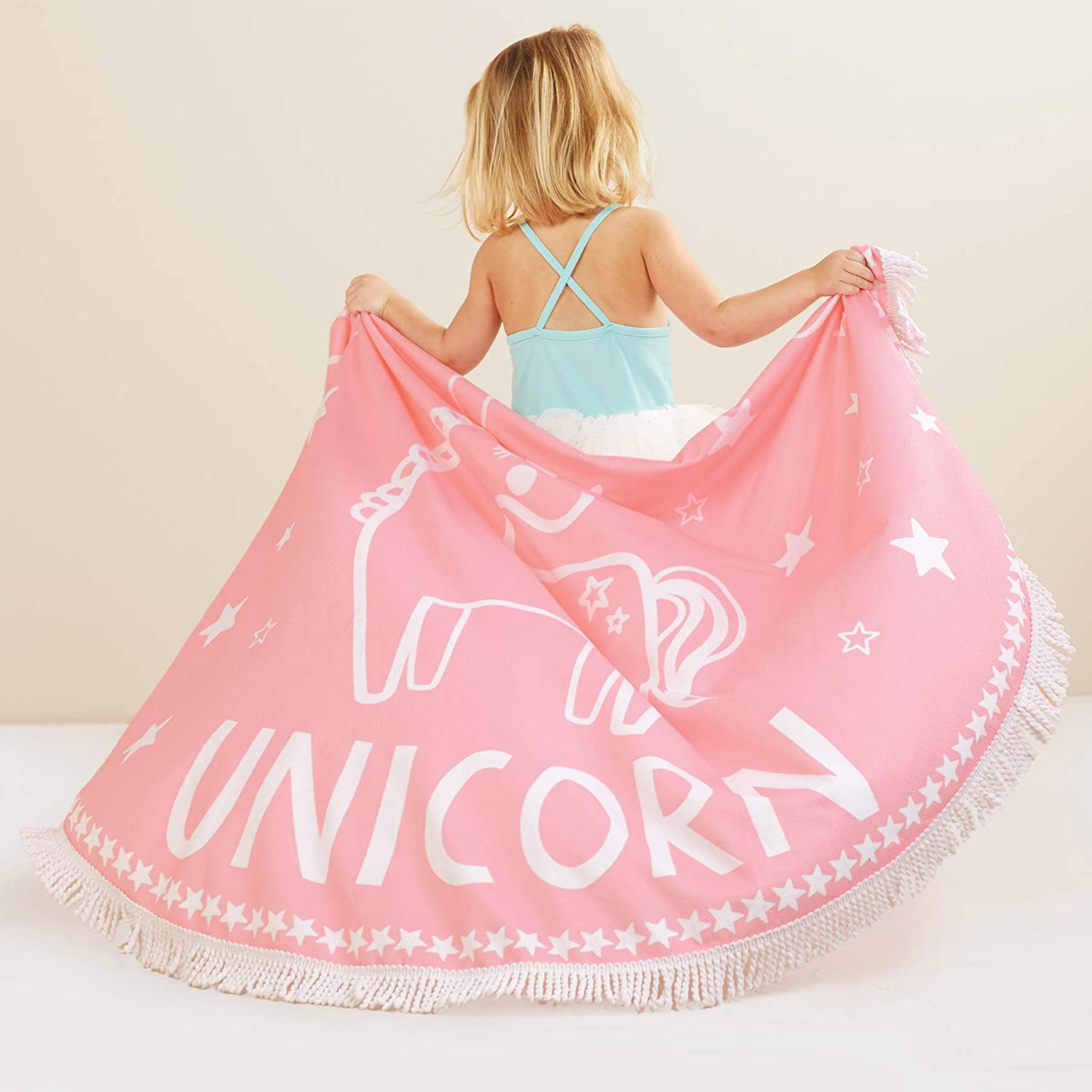 Mud Pie Baby Girls Unicorn Round Beach Blanket