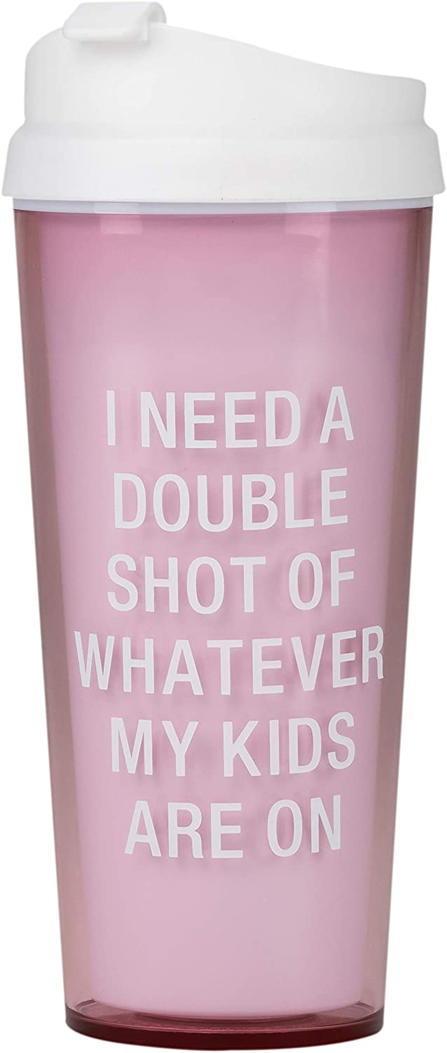 About Face Designs I Need a Double Shot on Pink 16 oz. Acrylic Travel Tumbler Mug