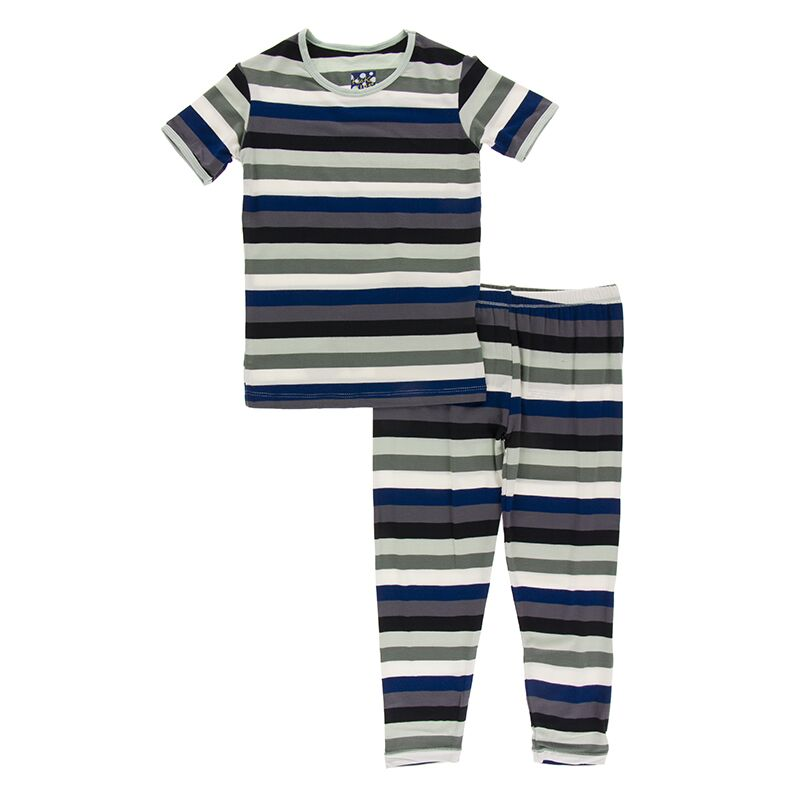 Kickee Pants - Zoology - Pajama Set - Zoology Stripe