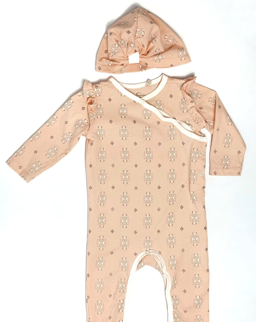 Long ruffled jumpsuit with hat 6-9M (Pre-loved)
