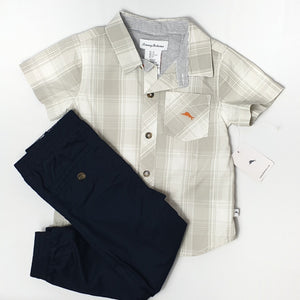 Semi-formal beige & navy outfit for boy 2T (Pre-loved)
