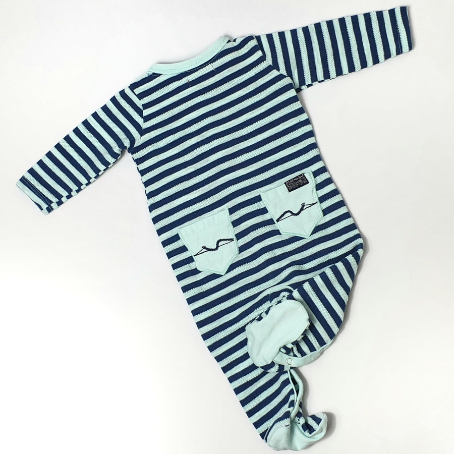 Striped pyjama with feet covers 3-6M (Pre-loved)