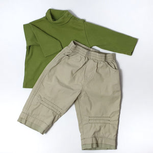 Olive shirt matched with beige pants 6-9M (Pre-loved)