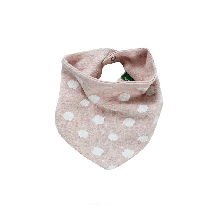 Reversible bandana bib - little clouds pink