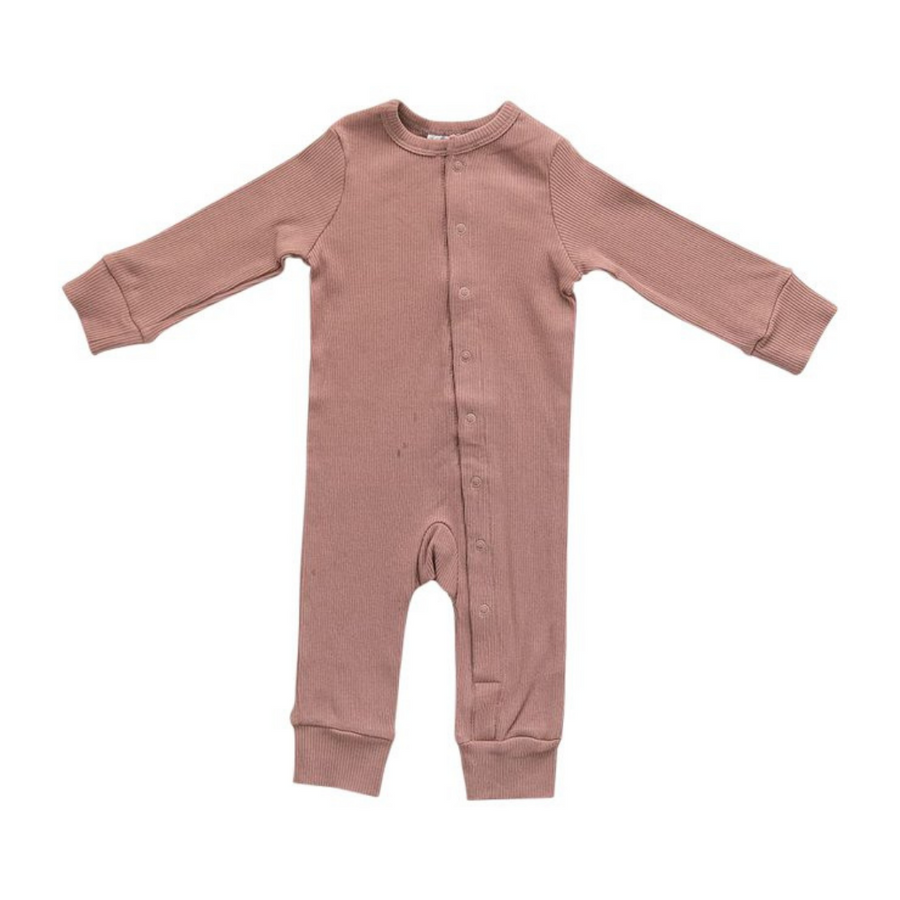 Organic Cotton Ribbed Footless Romper - Dusty Rose