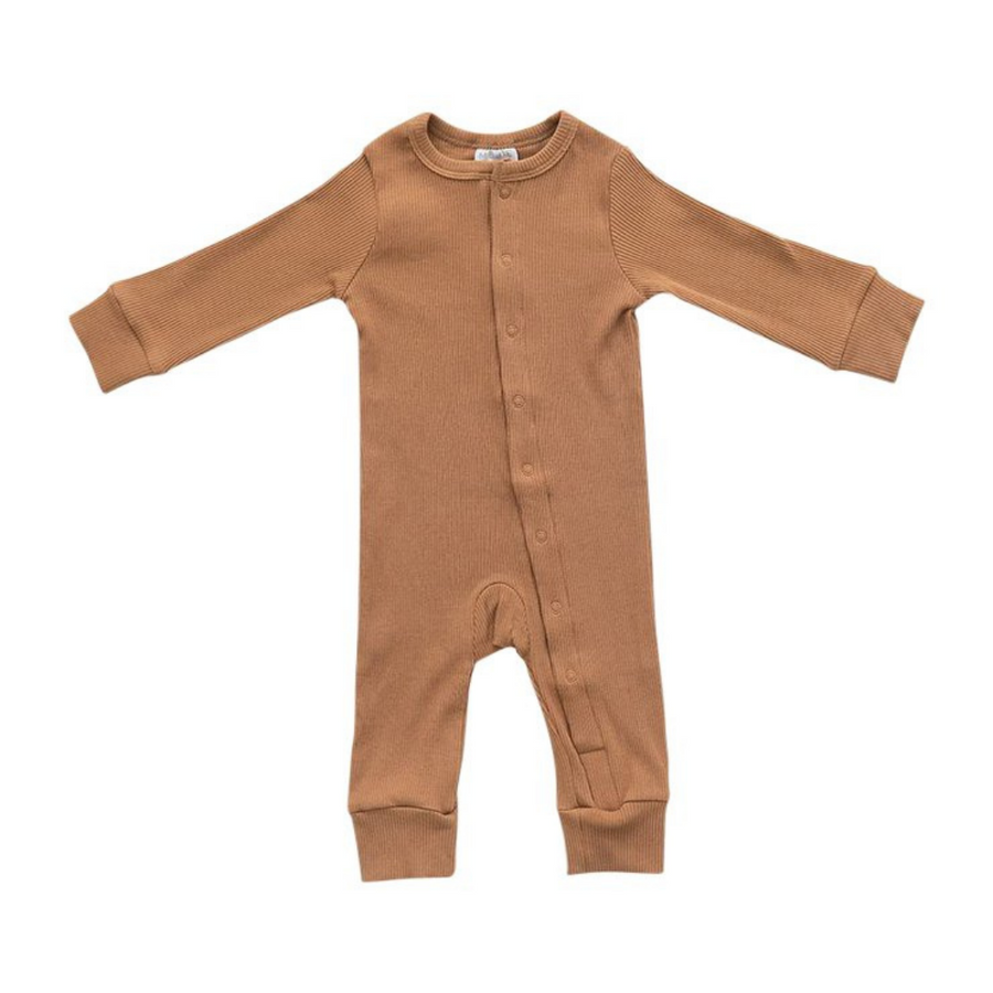 Organic Cotton Ribbed Footless Romper - Mustard