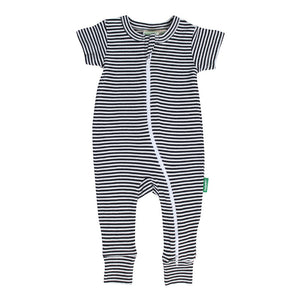 2-Way Zip Romper - Stripes Black