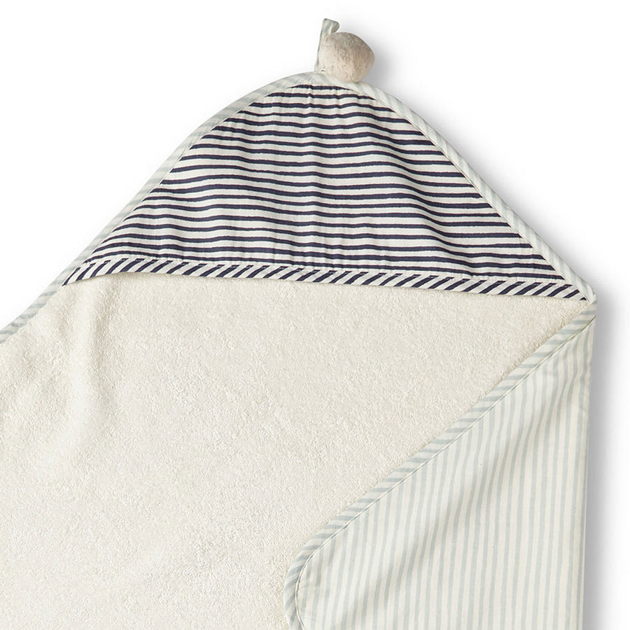Hooded Towel - sea & ink