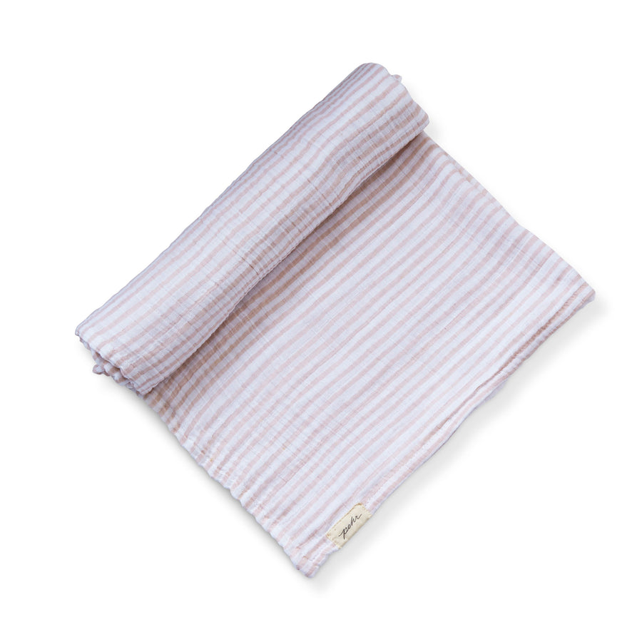 Organic Striped Swaddle - petal