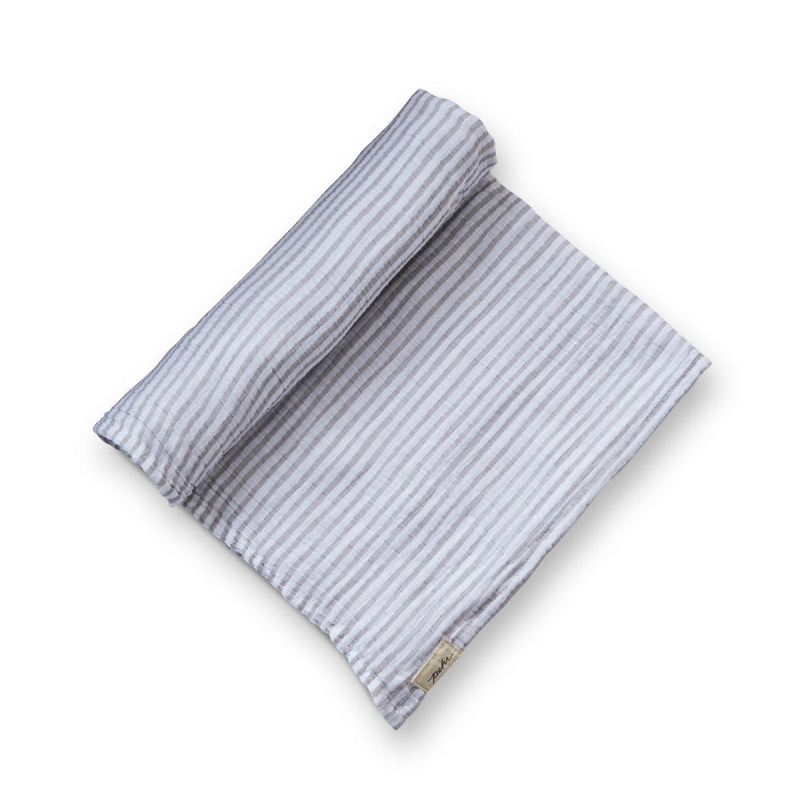Organic Striped Swaddle - pebble