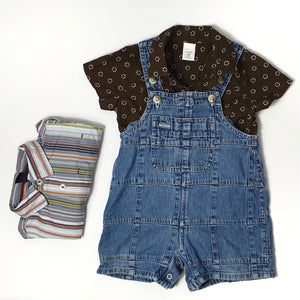 2 shirts to mix & match with denim shortalls 12-18M (Pre-loved)