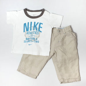 Athletic t-shirt with linen pants 6-9M (Pre-loved)