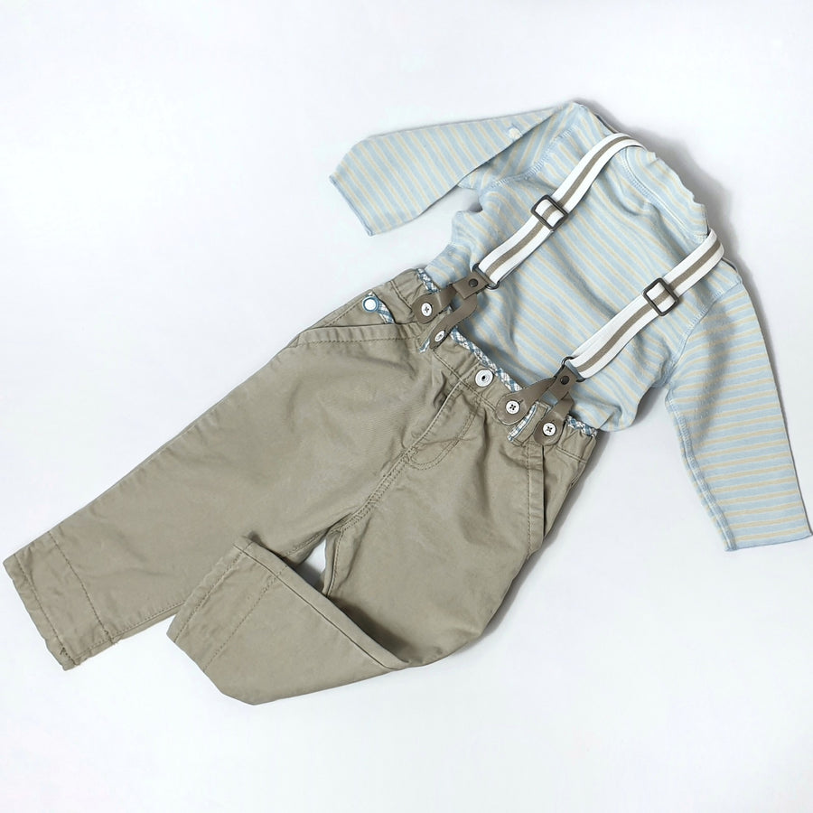 Pants with removable suspenders & shirt for boy 12M (Pre-loved)