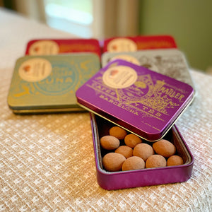 Marcona Almonds Dusted with Cocoa in a Gift Tin
