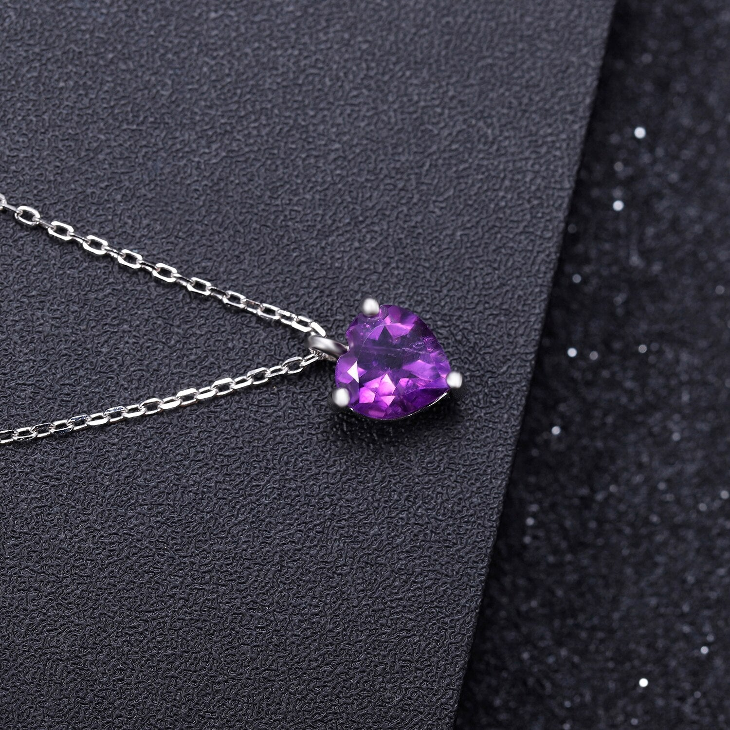 1.19 CT Natural Amethyst Sterling Silver Elegant Heart Pendant Necklace