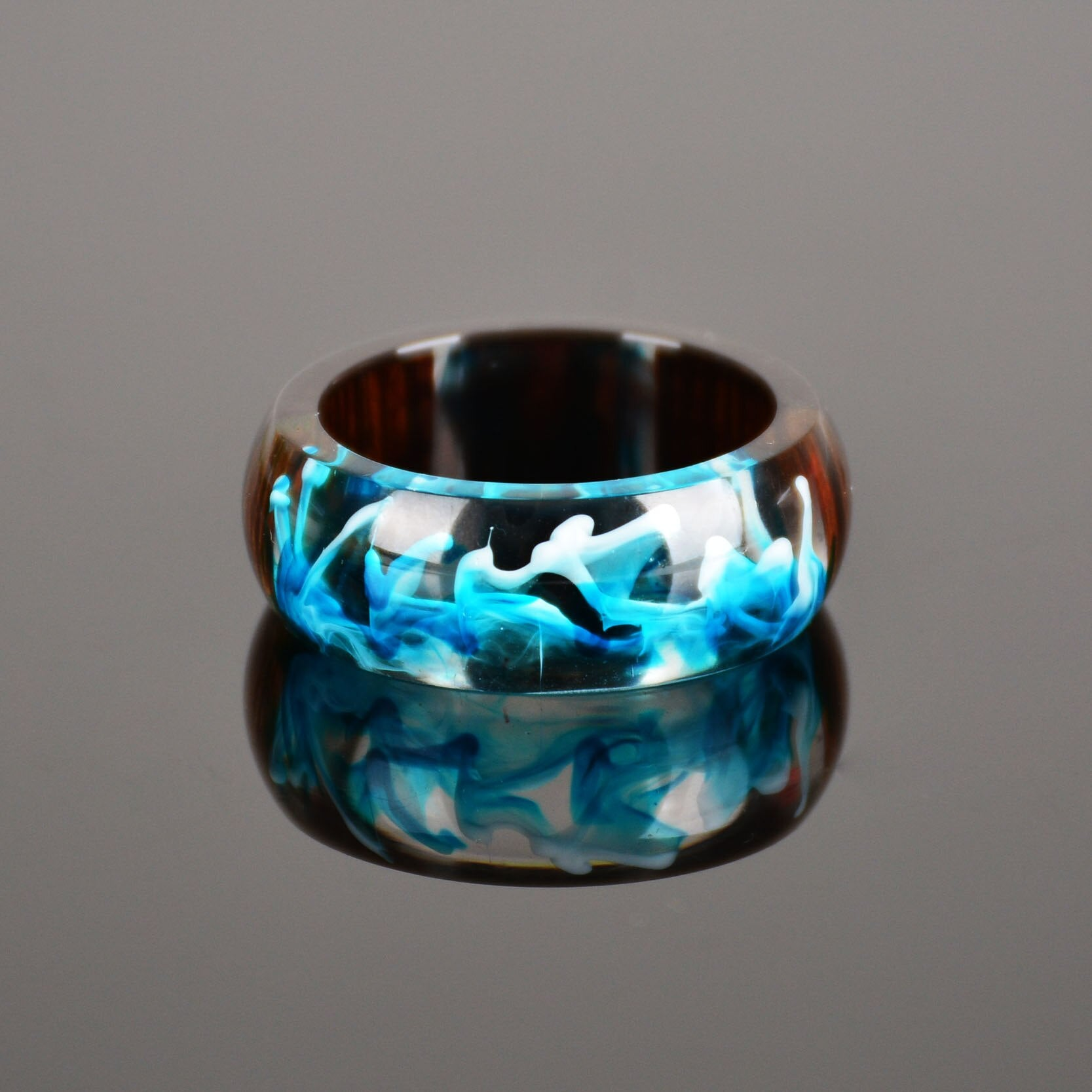 Blue Wave Epoxy Resin Ring For Men And Women - Pizarkle