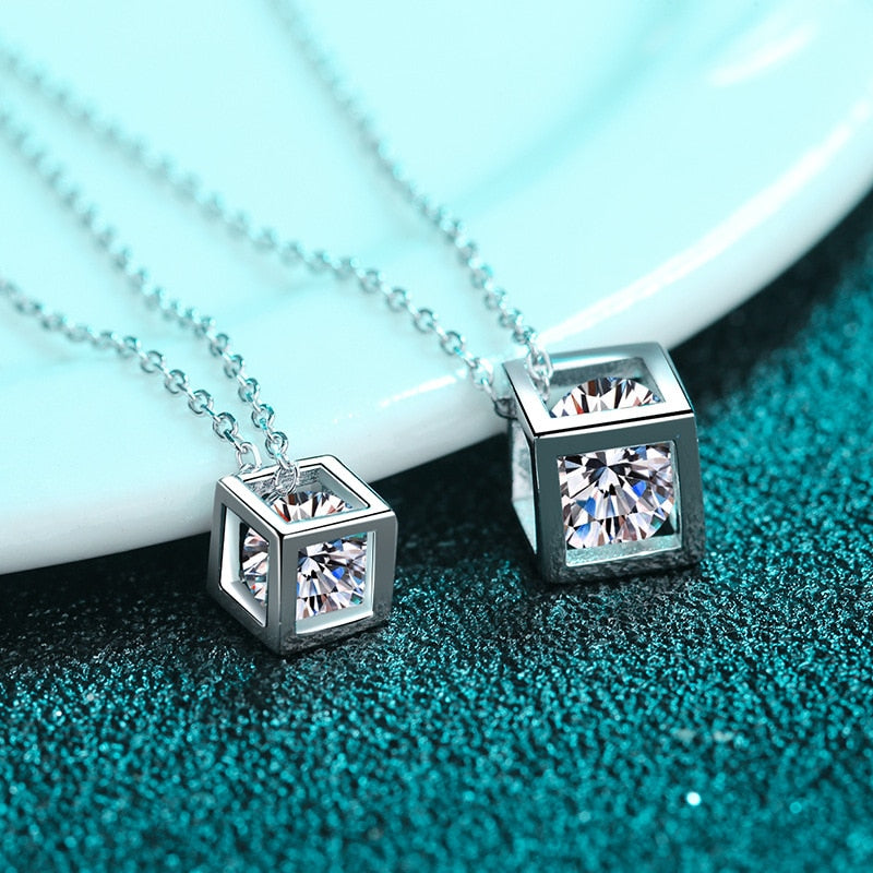 Silver Square Moissanite Necklace for Women