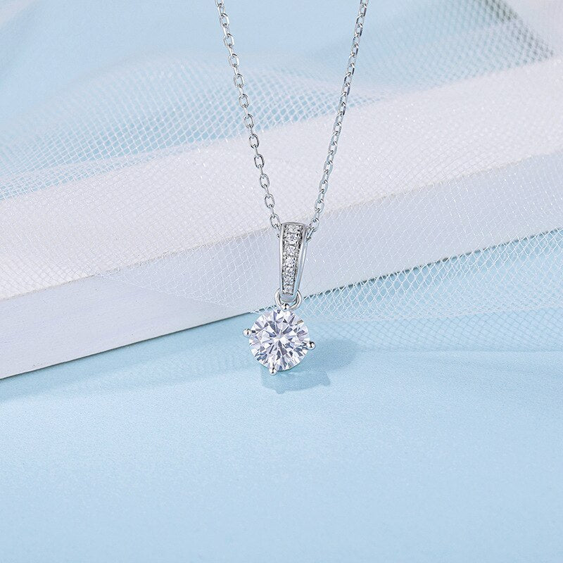 Sterling Silver Necklace 1.0ct Brilliant Moissanite - Pizarkle